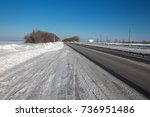 winter road in a sunny day | Shutterstock . vector #736951486