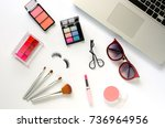 set of decorative cosmetics and ... | Shutterstock . vector #736964956