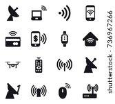 16 vector icon set   satellite... | Shutterstock .eps vector #736967266