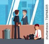 happy business man adjusting... | Shutterstock .eps vector #736968205