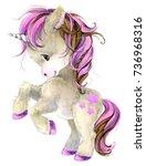 Stock photo cute unicorn watercolor illustration 736968316