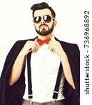 bearded man  short beard.... | Shutterstock . vector #736968892