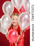party balloons in red  blond... | Shutterstock . vector #736972372