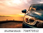 blue compact suv car with sport ... | Shutterstock . vector #736973512