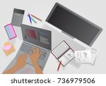 business idea. man at work.... | Shutterstock .eps vector #736979506