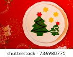 christmas cake decorated with... | Shutterstock . vector #736980775