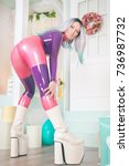 pretty anime girl wearing latex ...   Shutterstock . vector #736987732