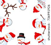 snowman in scarf  boots ... | Shutterstock .eps vector #736991926