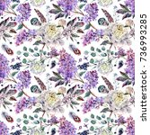 watercolor floral boho pattern... | Shutterstock . vector #736993285
