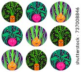 funny vegetable characters... | Shutterstock .eps vector #737008846