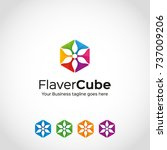 this is is a flower cube logo... | Shutterstock .eps vector #737009206