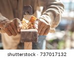 the carpenters are using... | Shutterstock . vector #737017132