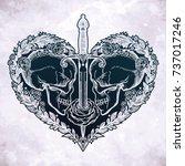 beautiful romantic skulls with... | Shutterstock .eps vector #737017246