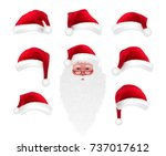 christmas cartoon photo booth... | Shutterstock .eps vector #737017612