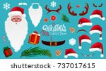 christmas cartoon photo booth... | Shutterstock .eps vector #737017615