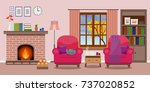 cozy living room interior with... | Shutterstock . vector #737020852