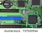 green printed computer... | Shutterstock . vector #737020966