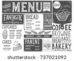 bakery dessert menu for... | Shutterstock .eps vector #737021092