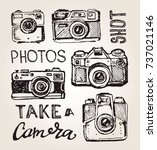 hand drawn vector retro camera. ... | Shutterstock .eps vector #737021146