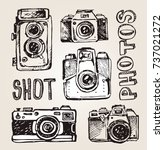 hand drawn vector retro camera. ... | Shutterstock .eps vector #737021272