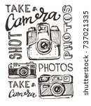hand drawn vector retro camera. ... | Shutterstock .eps vector #737021335