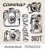 hand drawn vector retro camera. ... | Shutterstock .eps vector #737021512
