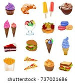 big food colored sketched... | Shutterstock .eps vector #737021686