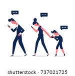 vector family holding smart... | Shutterstock .eps vector #737021725