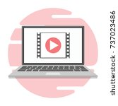 a video player icon on the... | Shutterstock .eps vector #737023486