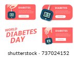 diabete diagnostic logo. world... | Shutterstock .eps vector #737024152