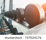 rows of bumbbells on rack in... | Shutterstock . vector #737024176