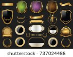 gold and silver shields laurel... | Shutterstock .eps vector #737024488
