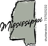 hand drawn mississippi state... | Shutterstock .eps vector #737025232