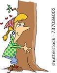 cartoon woman hugging a tree   Shutterstock .eps vector #737036002