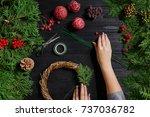 manufacturer of christmas decor ... | Shutterstock . vector #737036782