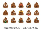 cute funny poop set. emotional... | Shutterstock .eps vector #737037646
