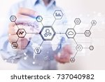 iot  automation  industry 4.0.... | Shutterstock . vector #737040982