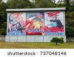 Small photo of PYONGYANG,NORTH KOREA-OCTOBER 12,2017: Agitational posters on the streets of the city