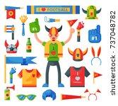 colored football soccer fan... | Shutterstock .eps vector #737048782