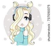 cute cartoon blonde girl... | Shutterstock .eps vector #737050375