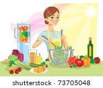 young woman is cooking healthy... | Shutterstock .eps vector #73705048