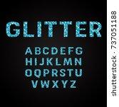 blue glitter alphabet fonts... | Shutterstock .eps vector #737051188