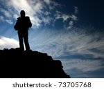 woman s  silhouette in the peak ... | Shutterstock . vector #73705768