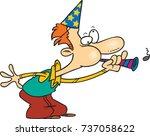 cartoon man wearing a party hat ...   Shutterstock .eps vector #737058622