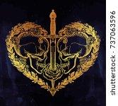 beautiful romantic skulls with... | Shutterstock .eps vector #737063596