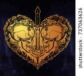 beautiful romantic skulls with... | Shutterstock .eps vector #737063626