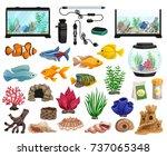 Aquaristics Cartoon Set With...