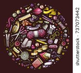 colorful vector hand drawn set... | Shutterstock .eps vector #737073442