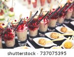 beautifully decorated catering... | Shutterstock . vector #737075395
