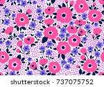 trendy seamless vector floral... | Shutterstock .eps vector #737075752